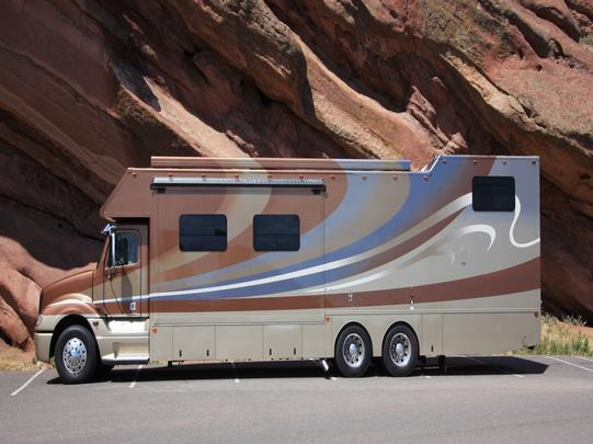 Pony express motor home with loft over garage